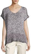 Lafayette 148 New York Mariel Short-Sleeve Oversized Yarn Sweater