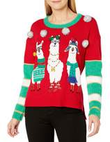 Blizzard Bay Women's Plus Size L/s Crew Neck Tunic with Llama Front Christmas Red 2X