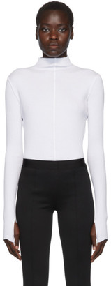 Helmut Lang White High Neck Rib Turtleneck