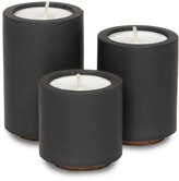 Concrete & Wax Concrete Tealight Trio Candle Holders With Soy Wax Tealights In Black