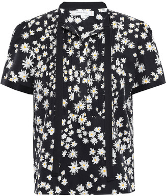 Chinti and Parker Pintucked Floral-print Cotton And Silk-blend Shirt