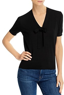 Theory Elodie Tie-Neck Short-Sleeve Sweater