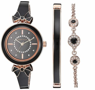 Anne Klein Women's AK/3338BKST Swarovski Crystal Accented Rose Gold-Tone and Black Bangle Watch with Bracelet Set
