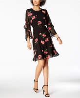 Nine West Floral-Print Tie-Sleeve Chiffon Dress, Created for Macy's