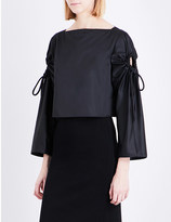 Sportmax Oggeri ruched-sleeve satin shirt