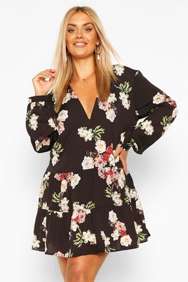 boohoo Plus Floral Tiered Woven Smock Dress