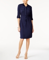 NY Collection Petite Drawstring Shirtdress