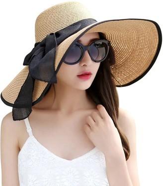 JOYEBUY Women's Floppy Big Brim Hat Bowknot Straw Hat Foldable Roll up Sun Hat - beige - One Size