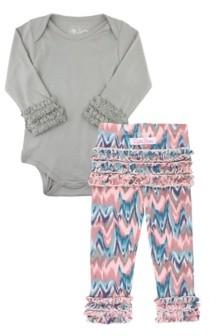RuffleButts Baby Girls Bodysuit and Ruffle Legging Set