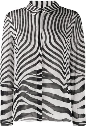 Just Cavalli Semi-Sheer Zebra Print Shirt