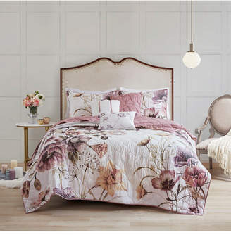 Madison Home USA Cassandra King/California King 6-Pc. Floral Print Reversible Cotton Quilted Coverlet Set Bedding