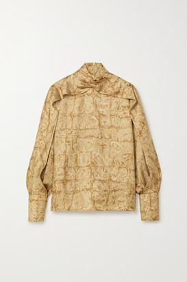 The Row Lima Printed Silk-faille Blouse - Beige
