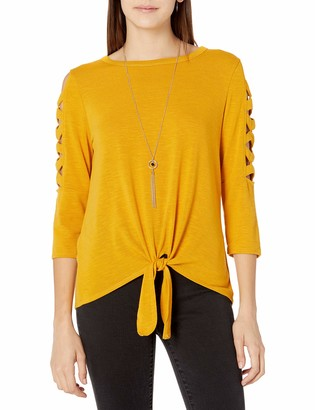 Amy Byer A. Byer Women's Cage Sleeve Tie Front Top