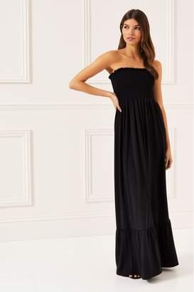 Lipsy Petite Shirred Bandeau Maxi Dress - 12 - Black