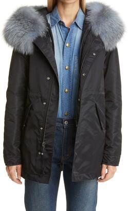 Mr & Mrs Italy Genuine Fox Fur Trim Hooded Nylon Coat