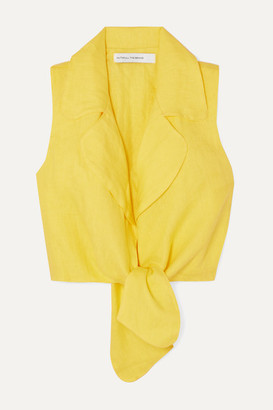 Faithfull The Brand Fernanda Cropped Tie-front Linen Top - Yellow