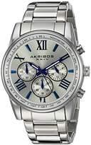 Akribos XXIV Men's AK865SS Round Silver Dial Chronograph Quartz Bracelet Watch
