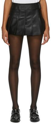 Junya Watanabe Black Faux-Leather Pleated Mini Skirt