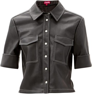 STAUD Rue Patch-pocket Faux-leather Shirt - Black