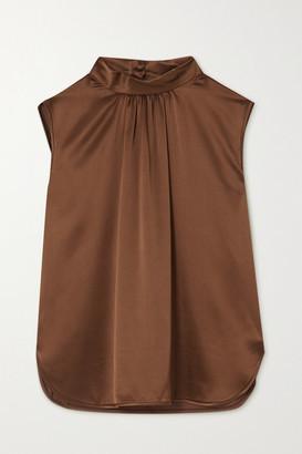 Max Mara Dorina Gathered Silk-satin Blouse - Brown