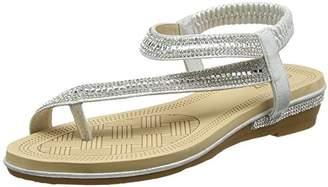 Quiz Women's Diamante Slant Strap Flat Sandals Ankle (Silver 00), 3 (36 EU)