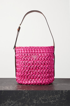 Prada Medium Leather-trimmed Raffia Tote - Pink