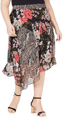 INC International Concepts Plus Mix-Print Midi Skirt
