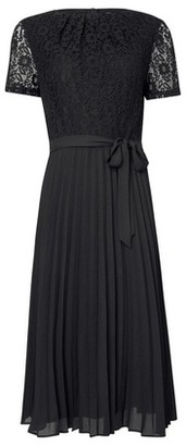Dorothy Perkins Womens Black Lace Pleat Midi Dress, Black