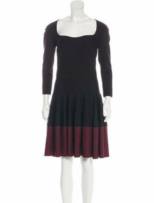Alexander McQueen Two-Tone Knee-Length Dress Plum