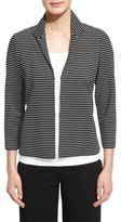 Lafayette 148 New York Bellene Striped 3/4-Sleeve Jacket, Black Multi, Plus Size