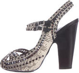 Tabitha Simmons Lizard Slingback Sandals