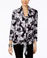 NY Collection Printed Tie Front Blouse