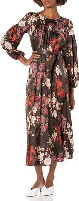 Calvin Klein Women's Long Sleeve Maxi with Faux Leather Belt