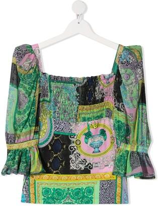 Versace TEEN mixed-print blouse