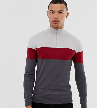Asos Design DESIGN Tall knitted half zip jumper in grey stripe