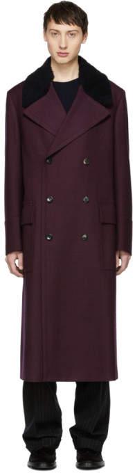 Paul Smith Burgundy Houndstooth Gents Overcoat