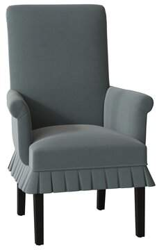 Sloane Chilmark Skirted Upholstered Dining Chair Whitney Body Fabric: Angela Cloud, Leg Color: Black Matte