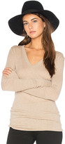Enza Costa Rib Cuff V Neck Long Sleeve Tee in Beige. - size L (also in M,S,XS)