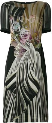 Alberta Ferretti floral fitted midi dress