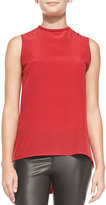 Alice + Olivia Silk Open Cowl-Back Tank Top