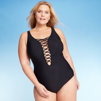 Women's Plus Size Lace-Up One Piece Swimsuit - Aqua Green®