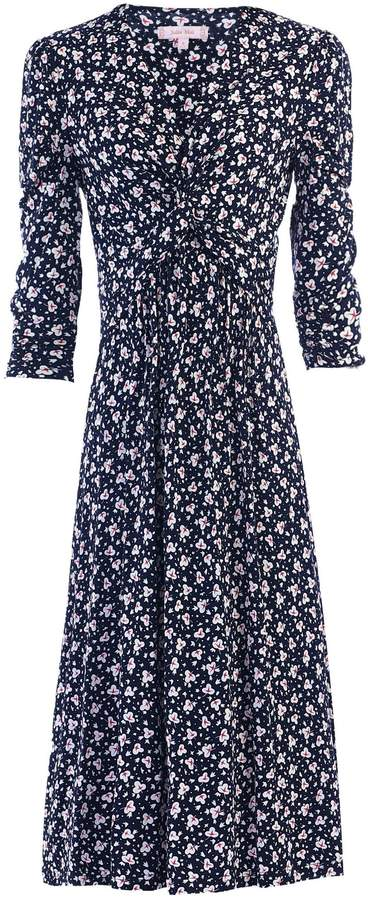 Dorothy Perkins Womens *Jolie Moi Navy Leafy Print Midi Fit And Flare Dress