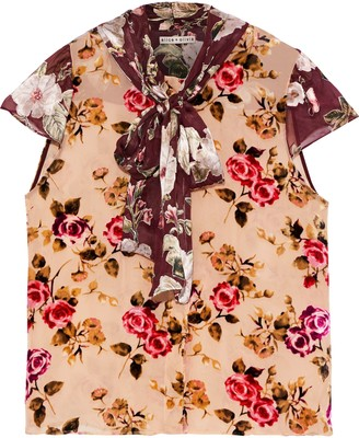 Alice + Olivia Jeannie Pussy-bow Floral-print Flocked And Fil Coupe Chiffon Blouse