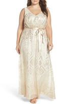 Marina Plus Size Women's Sequin Mesh Belted Long Dress