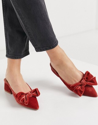 ASOS DESIGN Summer bow mid heeled mules in rust