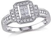 1/3 CT. T.W. Princess-Cut Composite Diamond Rectangle Frame Vintage-Style Ring in 14K White Gold