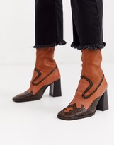 Asos Design DESIGN Evan premium leather western sock boots in tan