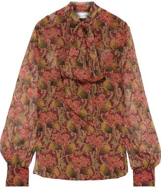 Oscar de la Renta Pussy-bow Floral-print Silk-chiffon Blouse