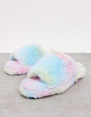 Simmi Shoes Simmi London fluffy slippers in rainbow