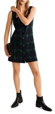 MANGO Plaid Button-Front Mini Dress
